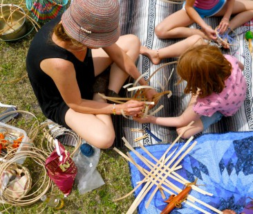 Camping and Weaving with Children. photo by Rachel Pethe