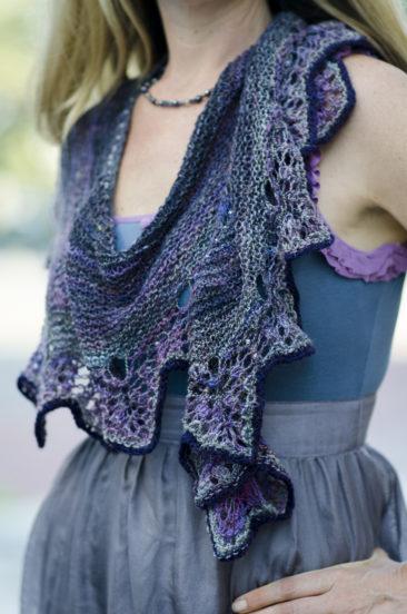 Hand dyed, hand spun, hand knit shawl. Pattern by Mona Mono