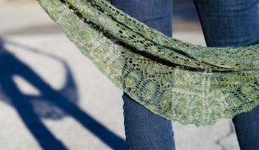 Handspun handknit shawl, beads and lace oh my!